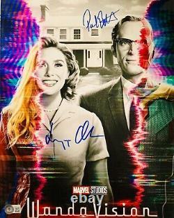 Elizabeth Olsen & Paul Bettany Signed 11x14 Photo Wandavision Beckett Witnessed