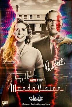 Elizabeth Olsen & Paul Bettany Signed 12x18 Wandavision Poster Photo BAS Beckett