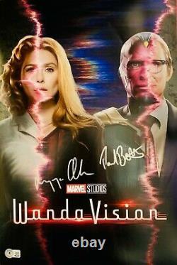 Elizabeth Olsen & Paul Bettany Signed 12x18 Wandavision Poster Photo Beckett BAS