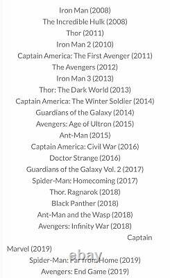 23 Marvel Studios Universe Cinematique Collection Movie 12 DVD Avengers Endgame