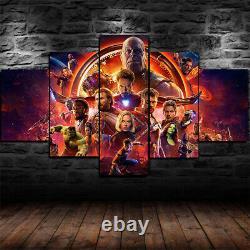 Affiche De Cinéma Marvel Avengers Endgame Imprimé En Toile De 5 Pièces Décor Mural