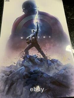 Captain America Avengers End Game Mjölnir Worthy Art Imprimer Signé Bosslogic