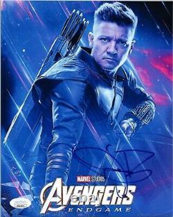 Jeremy Renner Authentic Hand-signé Avengersendgamehawkeye 8x10 Photo Jsa Coa
