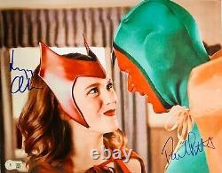 Paul Bettany & Elizabeth Olsen Signé 11x14 Photo Wandavision Beckett Témoin